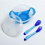 Набор детской посуды, подарочный, для мальчика, 6 предметов: тарелка на присоске, столовые приборы, бутылочки 125 и 250 мл, ёршик, цвет голубой, фото 2