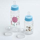 Набор детской посуды, подарочный, для мальчика, 6 предметов: тарелка на присоске, столовые приборы, бутылочки 125 и 250 мл, ёршик, цвет голубой, фото 3