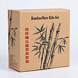 """Набор бамбуковой посуды """"Зебра"""", тарелка, миска, стакан, приборы, 5 предметов, фото 2"""