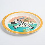 """Набор бамбуковой посуды """"Зебра"""", тарелка, миска, стакан, приборы, 5 предметов, фото 3"""