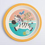 """Набор бамбуковой посуды """"Зебра"""", тарелка, миска, стакан, приборы, 5 предметов, фото 4"""