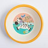 """Набор бамбуковой посуды """"Зебра"""", тарелка, миска, стакан, приборы, 5 предметов, фото 6"""
