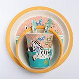 """Набор бамбуковой посуды """"Зебра"""", тарелка, миска, стакан, приборы, 5 предметов, фото 9"""