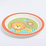 """Набор бамбуковой посуды """"Лёвушка"""", тарелка, миска, стакан, приборы, 5 предметов, фото 3"""