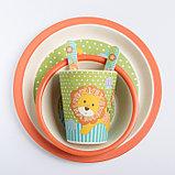 """Набор бамбуковой посуды """"Лёвушка"""", тарелка, миска, стакан, приборы, 5 предметов, фото 9"""