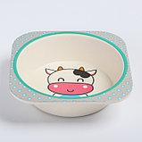 """Набор бамбуковой посуды """"Коровка"""", тарелка, миска, стакан, приборы, 5 предметов, фото 5"""