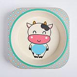 """Набор бамбуковой посуды """"Коровка"""", тарелка, миска, стакан, приборы, 5 предметов, фото 6"""