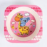 """Набор бамбуковой посуды """"Жираф и коала"""", тарелка, миска, стакан, приборы, 5 предметов, фото 6"""