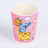 """Набор бамбуковой посуды """"Жираф и коала"""", тарелка, миска, стакан, приборы, 5 предметов, фото 7"""