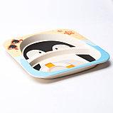 Набор детской посуды «Пингвинёнок», из бамбука, 5 предметов: тарелка, миска, стакан, столовые приборы, фото 4