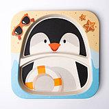 Набор детской посуды «Пингвинёнок», из бамбука, 5 предметов: тарелка, миска, стакан, столовые приборы, фото 3