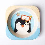 Набор детской посуды «Пингвинёнок», из бамбука, 5 предметов: тарелка, миска, стакан, столовые приборы, фото 6