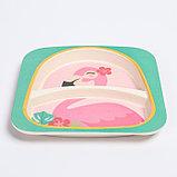 """Набор бамбуковой посуды """"Фламинго"""", тарелка, миска, стакан, приборы, 5 предметов, фото 4"""