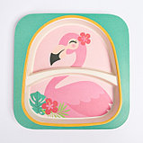 """Набор бамбуковой посуды """"Фламинго"""", тарелка, миска, стакан, приборы, 5 предметов, фото 3"""