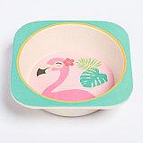 """Набор бамбуковой посуды """"Фламинго"""", тарелка, миска, стакан, приборы, 5 предметов, фото 5"""