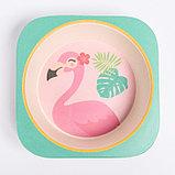 """Набор бамбуковой посуды """"Фламинго"""", тарелка, миска, стакан, приборы, 5 предметов, фото 6"""