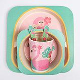 """Набор бамбуковой посуды """"Фламинго"""", тарелка, миска, стакан, приборы, 5 предметов, фото 9"""