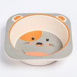 """Набор бамбуковой посуды """"Мышка"""", тарелка, миска, стакан, приборы, 5 предметов, фото 5"""