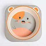 """Набор бамбуковой посуды """"Мышка"""", тарелка, миска, стакан, приборы, 5 предметов, фото 6"""
