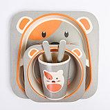 """Набор бамбуковой посуды """"Мышка"""", тарелка, миска, стакан, приборы, 5 предметов, фото 9"""