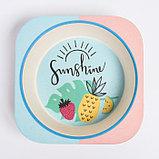 """Набор бамбуковой посуды """"Лето"""", тарелка, миска, стакан, приборы, 5 предметов, фото 6"""