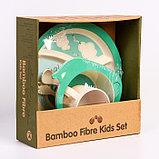 """Набор бамбуковой посуды """"Китенок"""",тарелка, миска, кружка, приборы, 5 предметов, фото 2"""