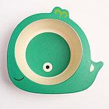 """Набор бамбуковой посуды """"Китенок"""",тарелка, миска, кружка, приборы, 5 предметов, фото 6"""