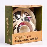 """Набор бамбуковой посуды """"Коровка"""",тарелка, миска, кружка, приборы, 5 предметов, фото 2"""