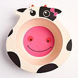 """Набор бамбуковой посуды """"Коровка"""",тарелка, миска, кружка, приборы, 5 предметов, фото 3"""