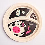 """Набор бамбуковой посуды """"Коровка"""",тарелка, миска, кружка, приборы, 5 предметов, фото 6"""