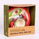 """Набор бамбуковой посуды """"Божья коровка"""",тарелка, миска, кружка, приборы, 5 предметов, фото 2"""