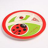 """Набор бамбуковой посуды """"Божья коровка"""",тарелка, миска, кружка, приборы, 5 предметов, фото 4"""