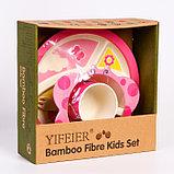 """Набор бамбуковой посуды """"Бабочка"""",тарелка, миска, кружка, приборы, 5 предметов, фото 2"""
