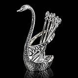 Набор ложек на подставке «Серебряный лебедь», 7,5×5×14 см, фото 2