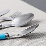 Набор столовых приборов «Хэнди», 24 предмета, на пластиковой подставке, цвет синий, фото 3