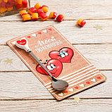 """Ложка на открытке сердечко """"Моей половинке"""", 10 х 18 см, фото 2"""