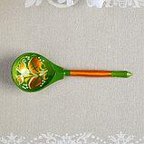 Ложка полубаская «Зеленая роспись», ручная работа, фото 3