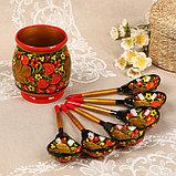 Набор «Хозяюшка», 6 ложек и ваза, 13×9 см, хохлома, фото 2
