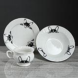 "Столовый набор ""Бостон-терьер"" тарелка d175 мм, салатник 0,5 л, чашка 0,2 л   микс, фото 7"