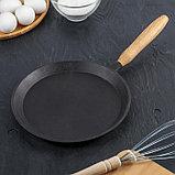 Сковорода блинная 22 см, с деревянной ручкой, фото 2