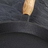 Сковорода блинная 22 см, с деревянной ручкой, фото 3