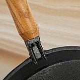 Сковорода блинная 24 см, с деревянной ручкой, фото 3