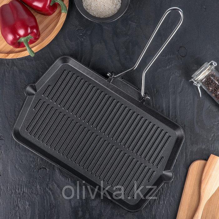 Сковорода-гриль со складывающейся ручкой 35×20 см