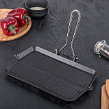 Сковорода-гриль со складывающейся ручкой 35×20 см, фото 3