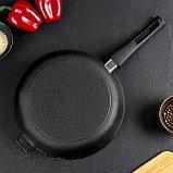Сковорода-гриль 28 см, со съёмной ручкой, чугунная крышка, фото 6
