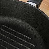 Сковорода-гриль 28х6 см литая, чугунная крышка, фото 3