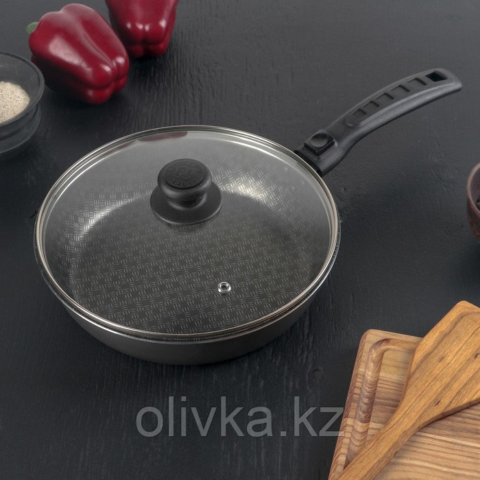 Сковорода «Русская кухня лён», d=22 см стеклянная крышка, съёмная ручка