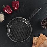 Сковорода «Русская кухня лён», d=22 см стеклянная крышка, съёмная ручка, фото 2