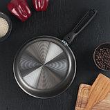 Сковорода «Русская кухня лён», d=22 см стеклянная крышка, съёмная ручка, фото 5