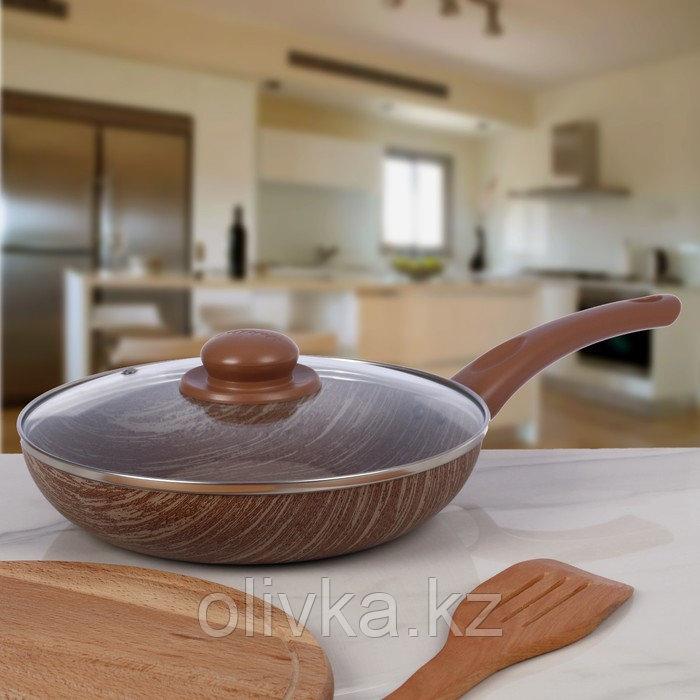 Сковорода глубокая 24 см «Kantry», со стеклянной крышкой